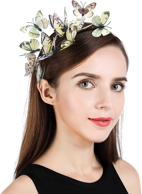 Z&X Butterfly Fascinator Headband for Women Girls Kentucky Derby Hat Monarch Crown Halloween Headpiece Costume Accessory