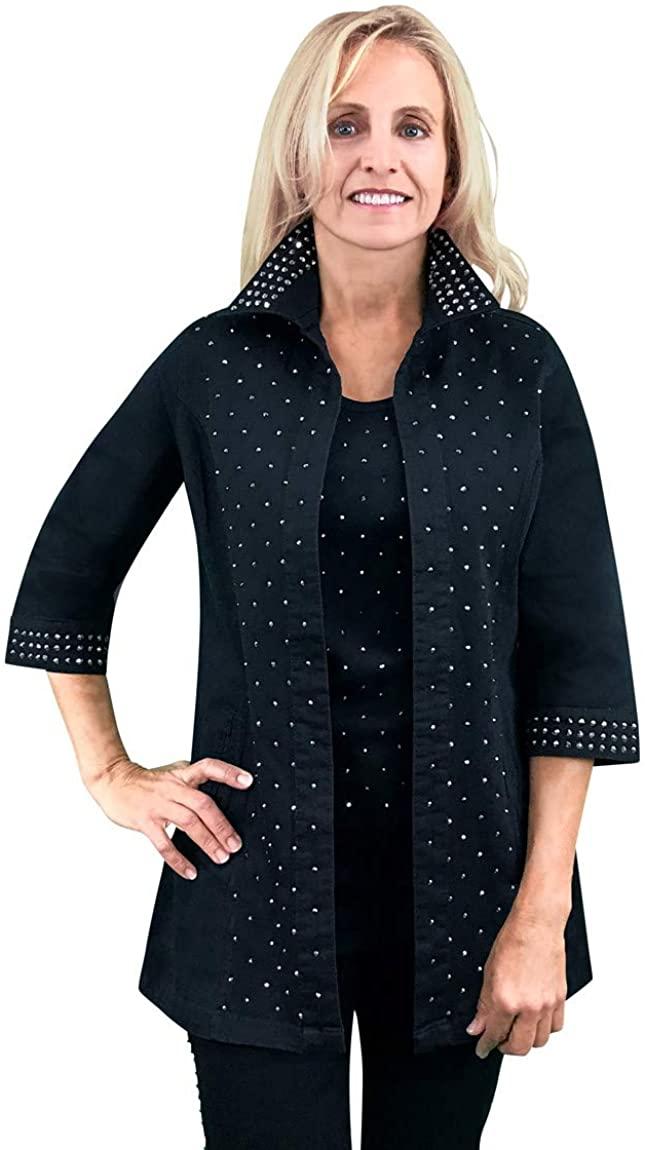 Tia Designs - Jet Diamond, Rhinestone Accented Sleeves & Collar Swing Jacket