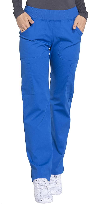 Cherokee Workwear Professionals Mid Rise Straight Leg Pull-on Cargo Scrub Pant, S Petite, Royal