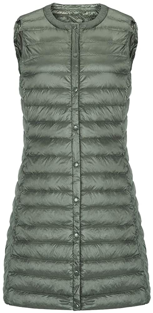 Chickle Womens Puffer Down Vest Button Long Waistcoat