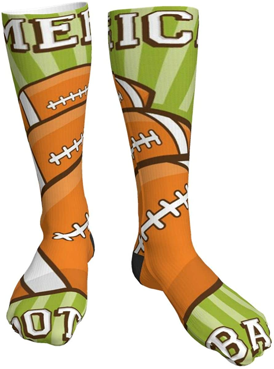 American Football Rugby Sport Retro Pop Art Women/Men Classic Polyester Athletic Socks Lightweight Over The Calf Socks Casual Knee High Socks for Outdoor Travel Running Hiking 1 pair