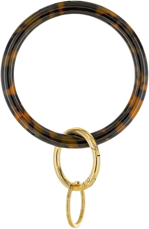 And Lovely Tortoise Shell Bangle Bracelet with 14K Gold Plated Key Ring - Bangle Keychain