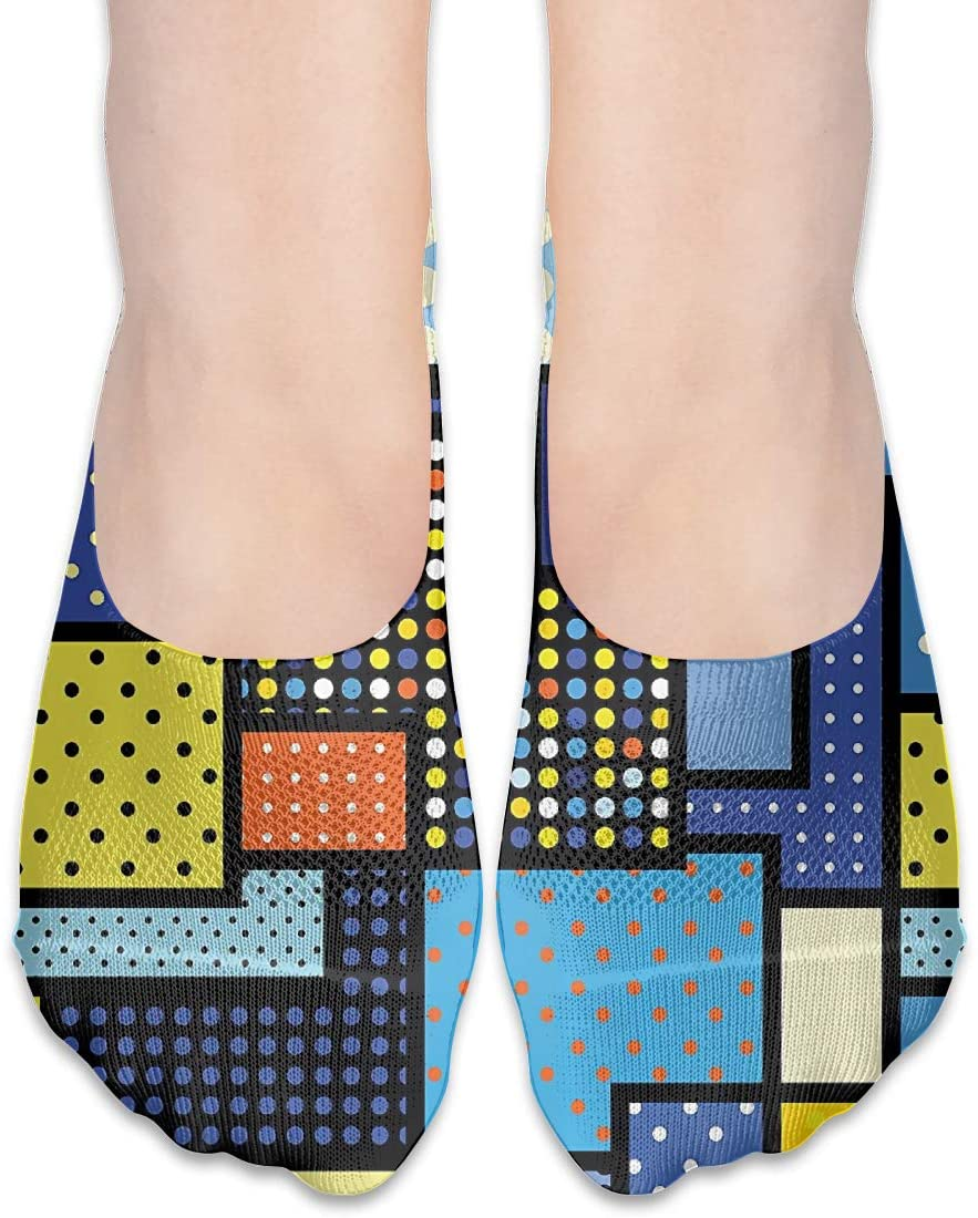 FriendEver No Show Socks,Retro Colors Eastern Arabesque Casual Invisible Flat Socks,Breathable Anti-Odor Low Cut Women Cotton Sox,Non Slip Liner Sock