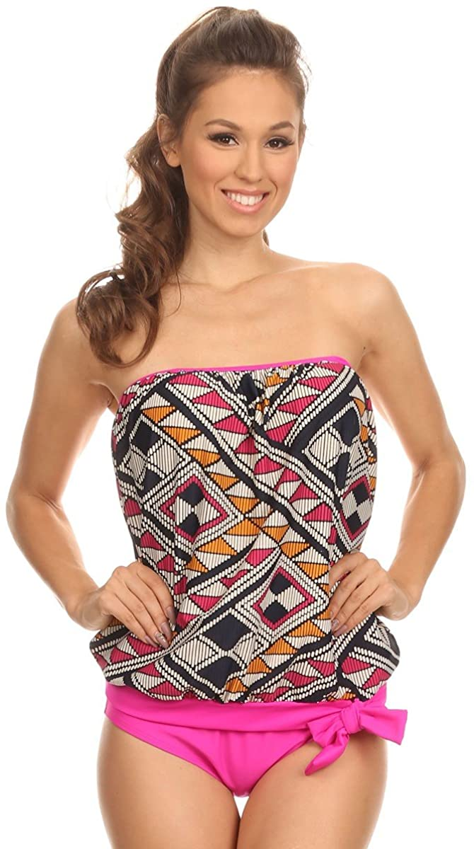 2 PC. Ladies Stiches Blouson Top Swimsuit Set
