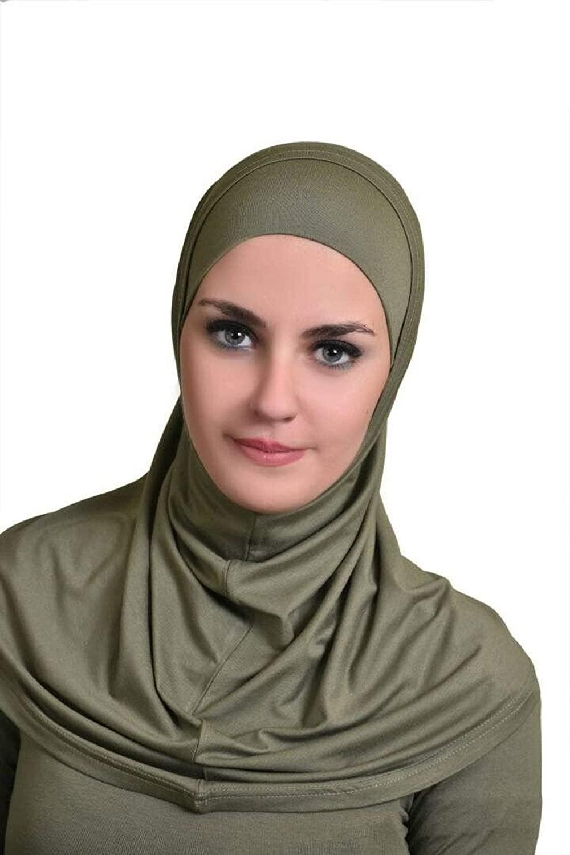 Olive GreenAl Ameera Muslim Hijab Cotton Amira 2 Piece Hood & Hijab Tube Underscarf Cap