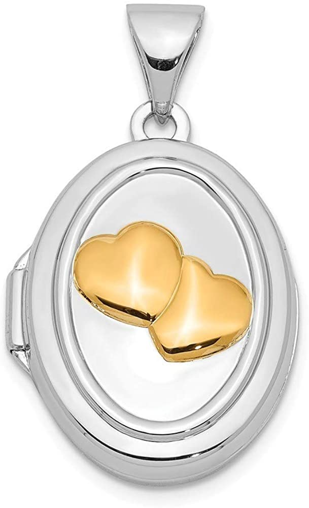 925 Sterling Silver Yellow Rhodium 17mm Two Love Hearts Oval Photo Locket Pendant Necklace Jewelry Gifts for Women