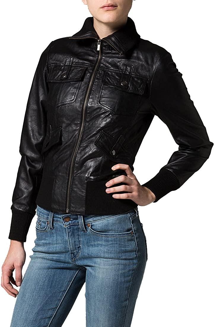 New Women Motorcycle Lambskin Leather Jacket Coat Size XS S M L XL NLT113