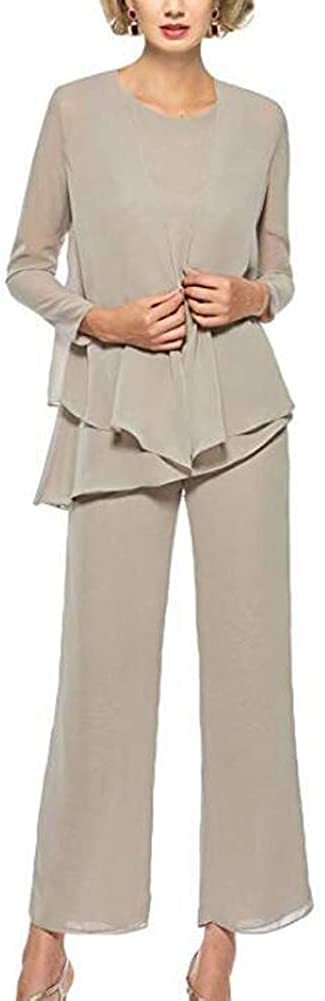 Women's Three-Pieces Champagne Chiffon Mother of The Bride Dress Pants Suits Prom Gown US2