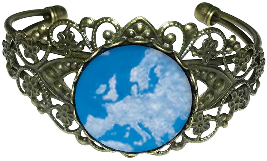 GiftJewelryShop Bronze Retro Style Blue Sky and Clouds Flower Cuff Bangle Bracelet Fashion Jewelry