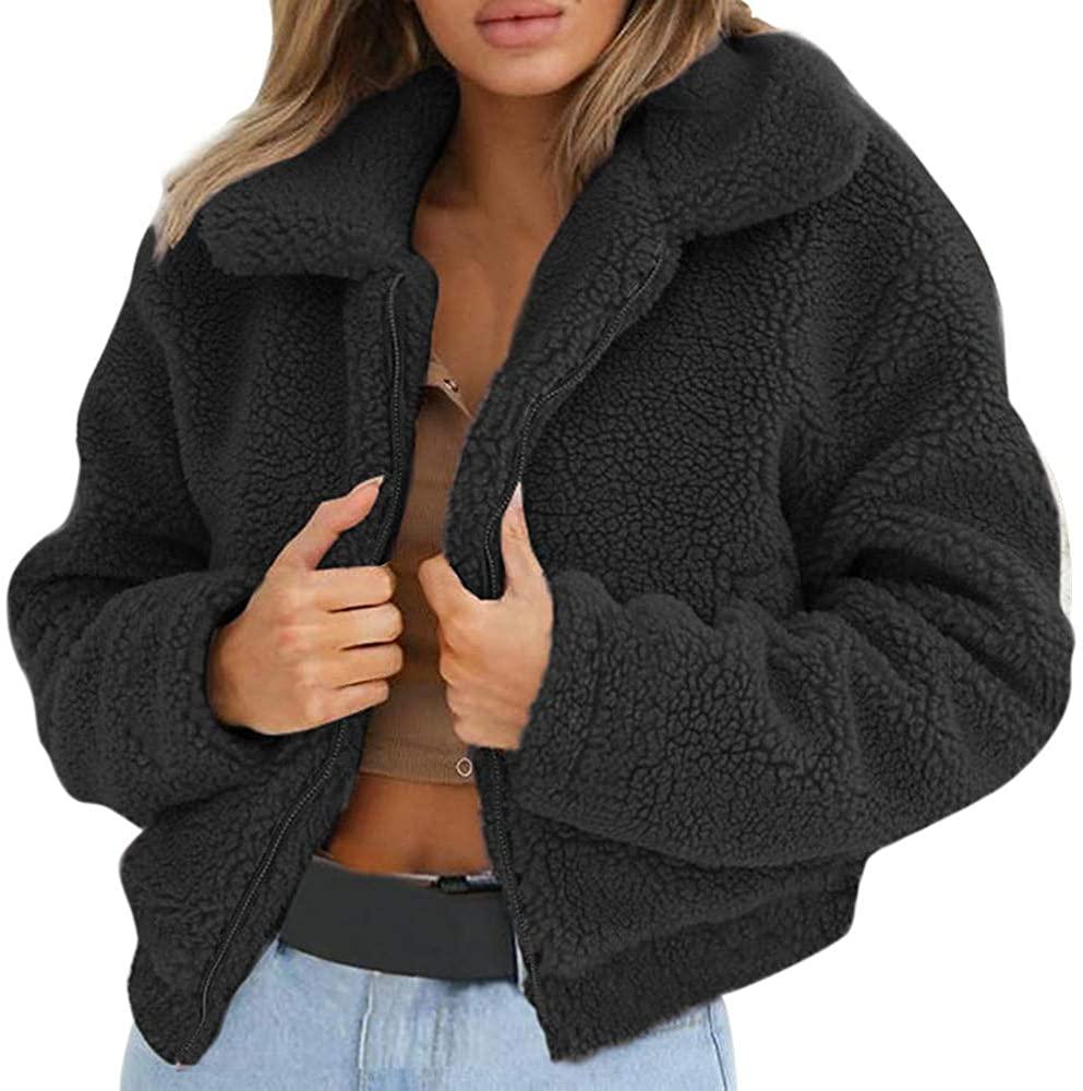 OMMR-Clearance Winter Warm Solid Faux Fur Jacket Womans Coat Winter Outwear Fluffy Jacket Sweatshirt Black