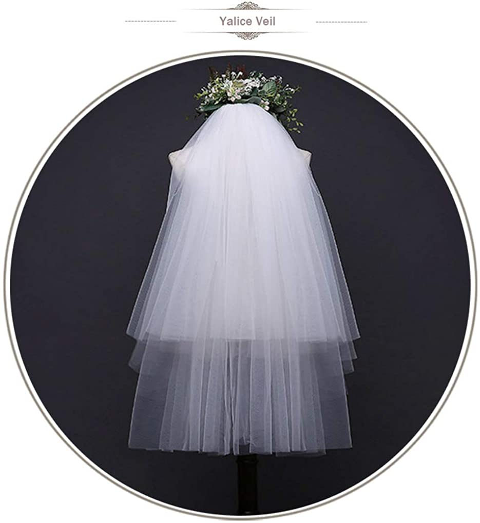 Yalice Womens Simple Bride Wedding Veil Two-tier/2T Elbow Length Veil Soft Tulle Hair Accessories