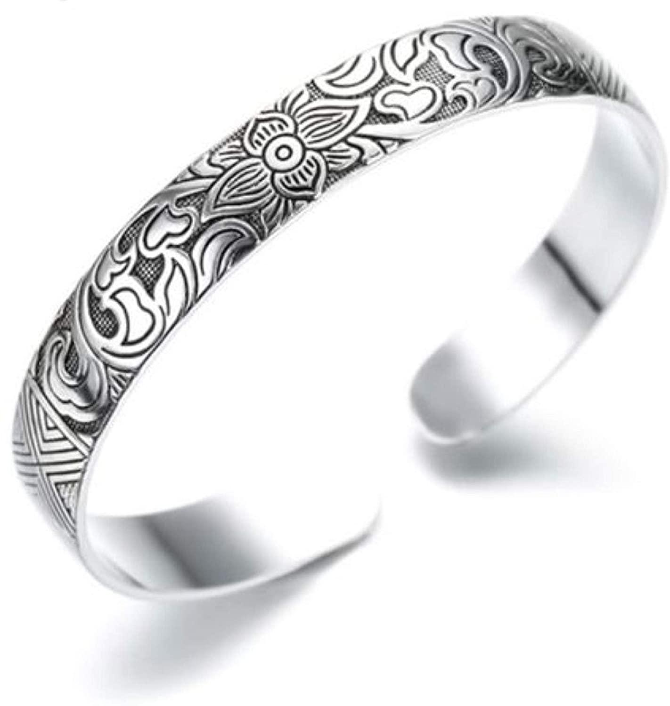 Chandria's Treasures Sterling Silver Lotus Flower Bangle Bracelet - Holiday Sale