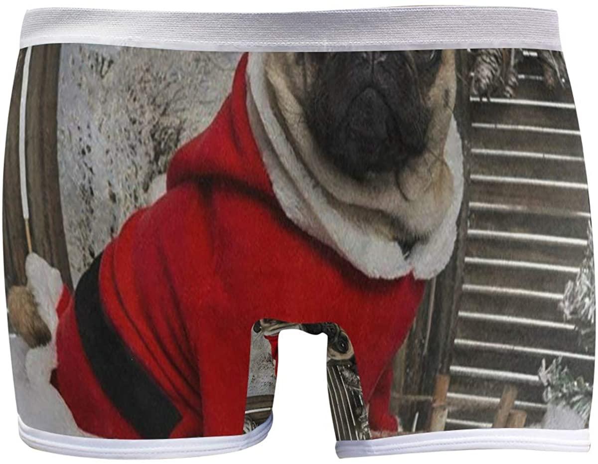 SLHFPX Funny Christmas Pug Puppy Dog Snow Women's Boyshort Panties Comfort Underwear Briefs Boy Shorts