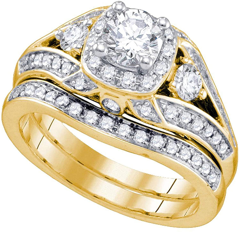 Dazzlingrock Collection 1.48 Carat (ctw) Round Diamond Bridal Wedding Ring Set 1-1/2 Ctw, 14K Yellow Gold