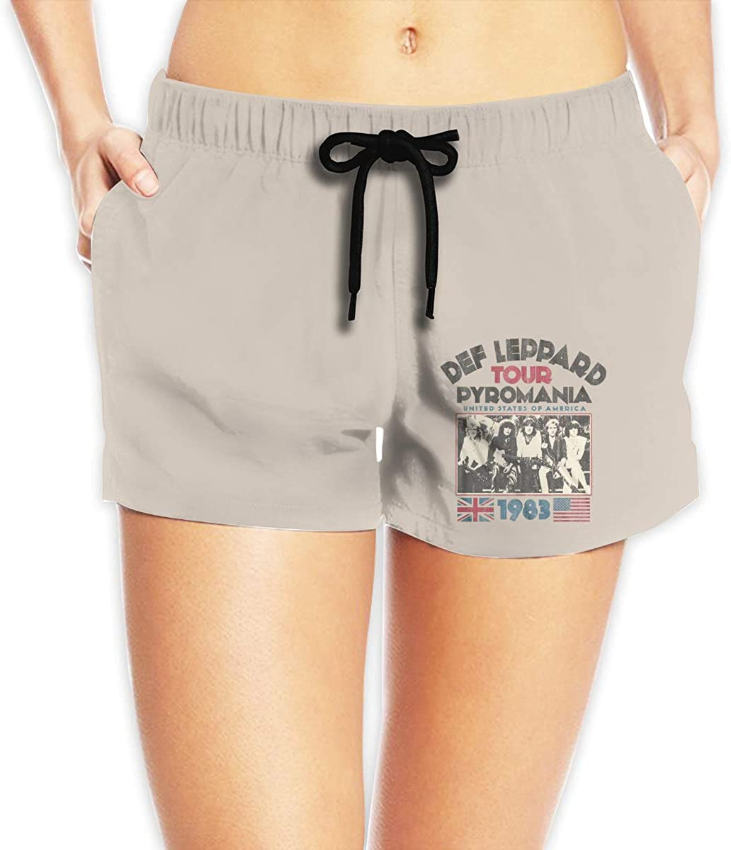 Hangquq Ladiesdef Leppard Printed Bouquet with Waist Beach Shorts.