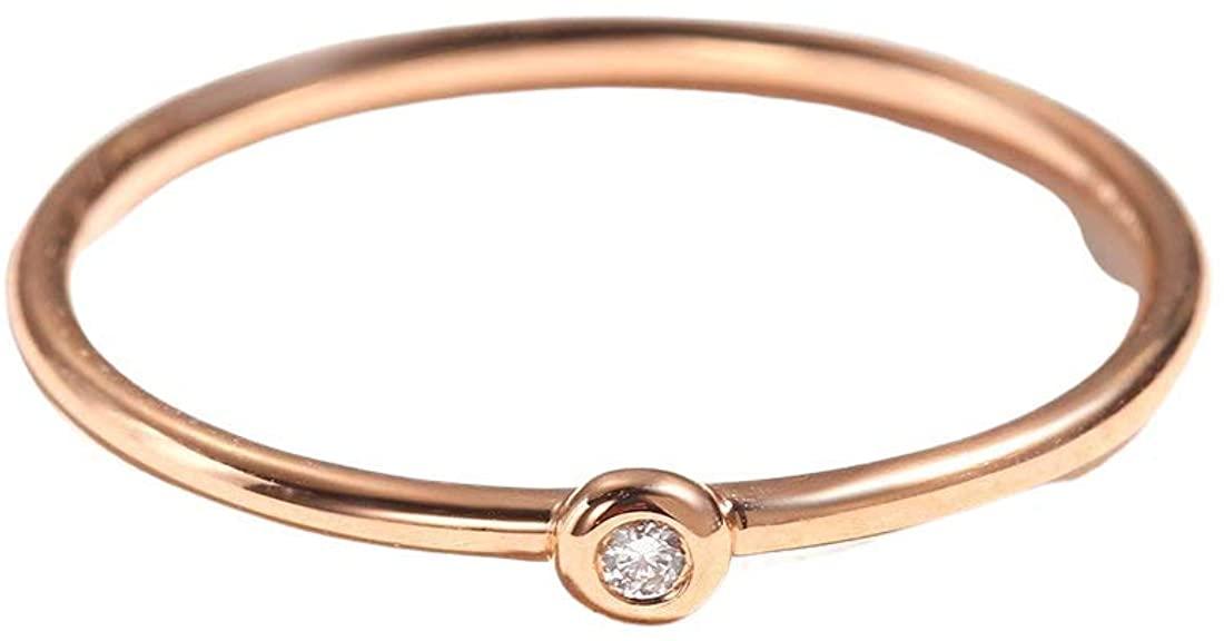 Carleen 18k Solid Rose Gold Stackable 0.01ct Diamond Ring Band Women Girls