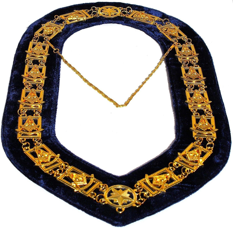 DEURA Masonic Collar Past Master Square & Compass Master Mason Gold Plated // Blue Backing DMR-200GB