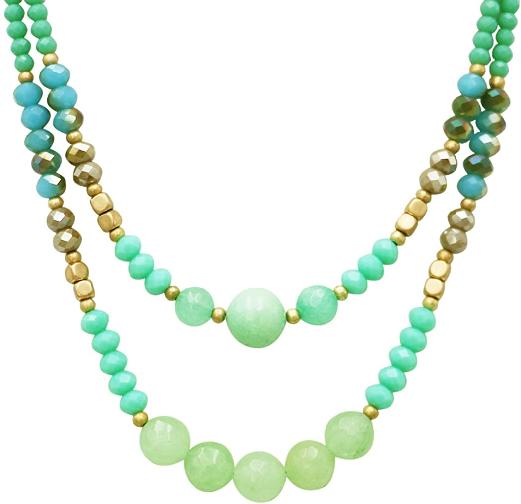 Rosemarie Collections Women's Stunning Double Strand Colorful Glass Bead Necklace, 34