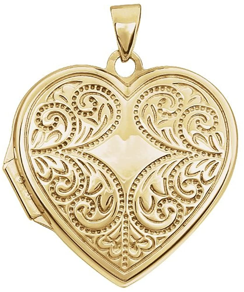 14k Yellow Gold Love Heart Shaped Photo Locket Pendant Necklace Jewelry Gifts for Women