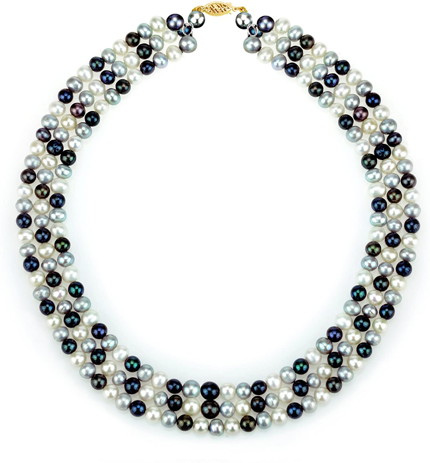 La Regis Jewelry 14K Yellow Gold 6.5-7mm Freshwater Cultured Pearl 3-Rows Necklace 18