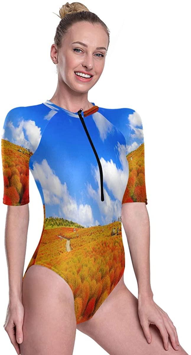 Godfery Gabriel Women's One Piece Short Sleeve Rashguard Surf Swimsuit Kochia with Hill Landscape Mountain Bikini