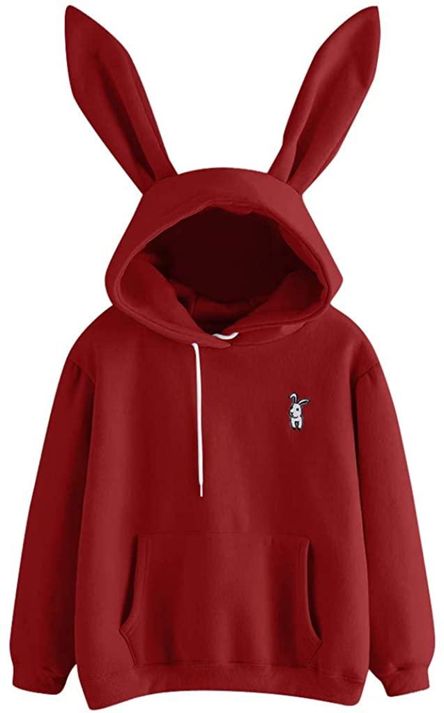 LISTHA Cute Hoodie Women Rabbit Hooded Sweatshirt Long Sleeve Warm Pullover Tops