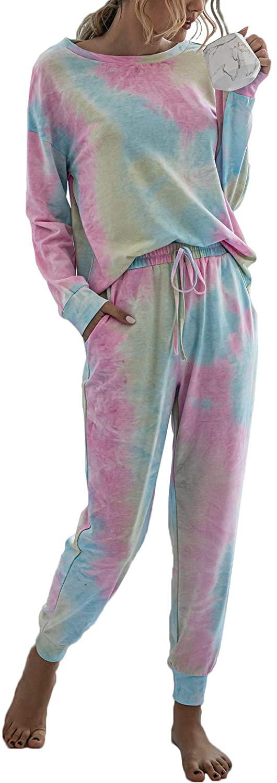 LOCOEN Womens Pajama Sets Tie Dye Sweatsuit Long Sleeves Pullover Sleepwear Set 2 Pcs Lounge Jogger Set Nightwear (XL, Multicoloured) 19L4-lanlvfen-XL