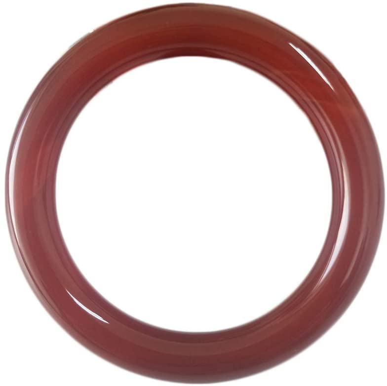 QJBMEI 0.35-0.44 Inch Width Red Jade Bangle Bracelet for Women, Chinese Style Round Bangle, H0G-09,64mm