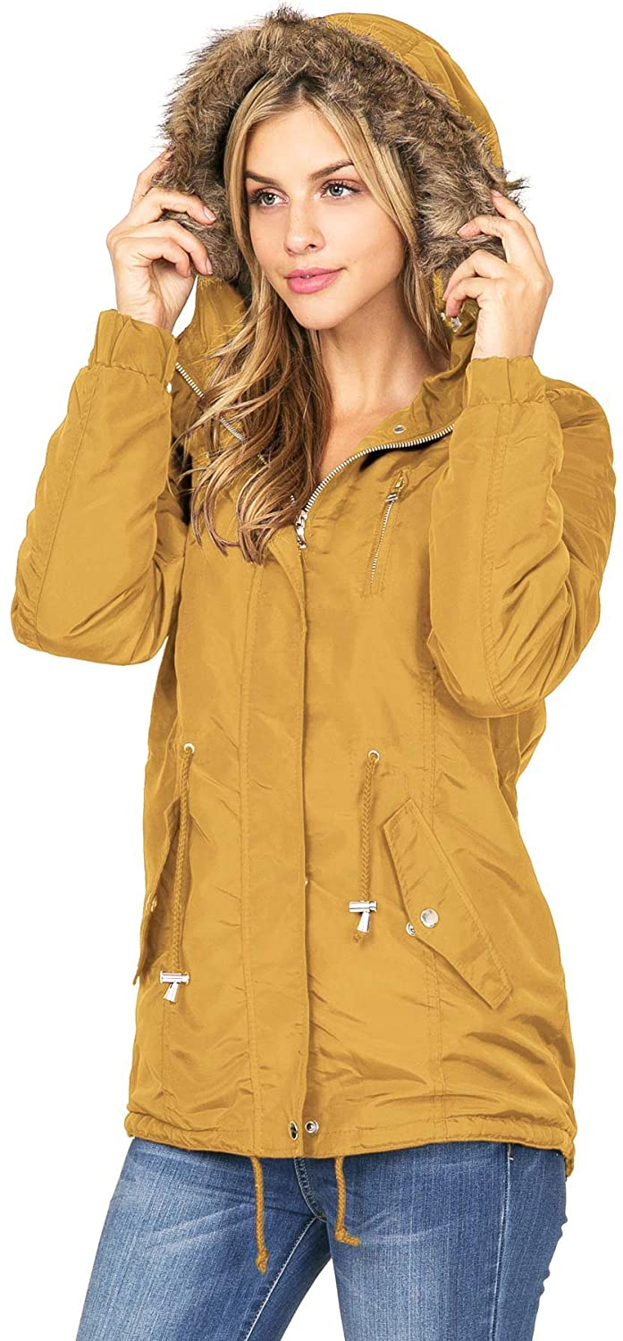Ambiance Apparel Women's Juniors Hooded Sherpa Lined Jacket
