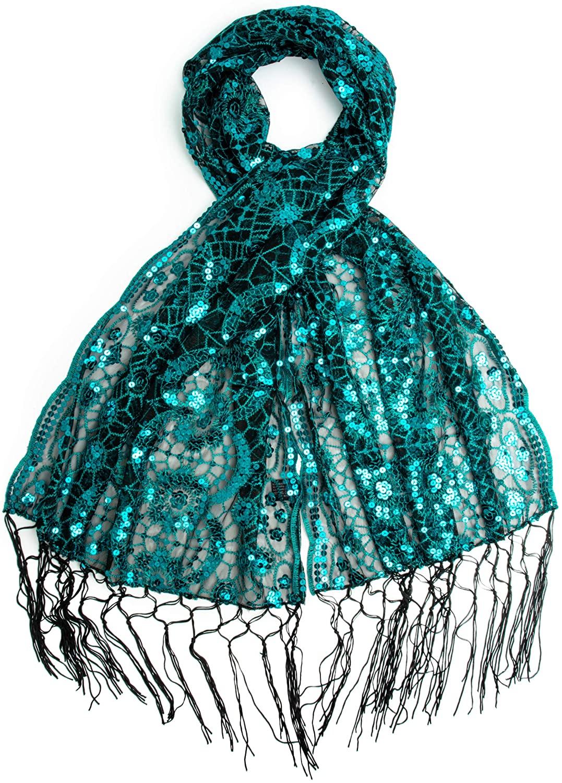 Bohomonde, Vera, Vintage Inspired Sequin Shawl, Evening Wrap, Embroidered Sequin Fringe Shawl or Scarf