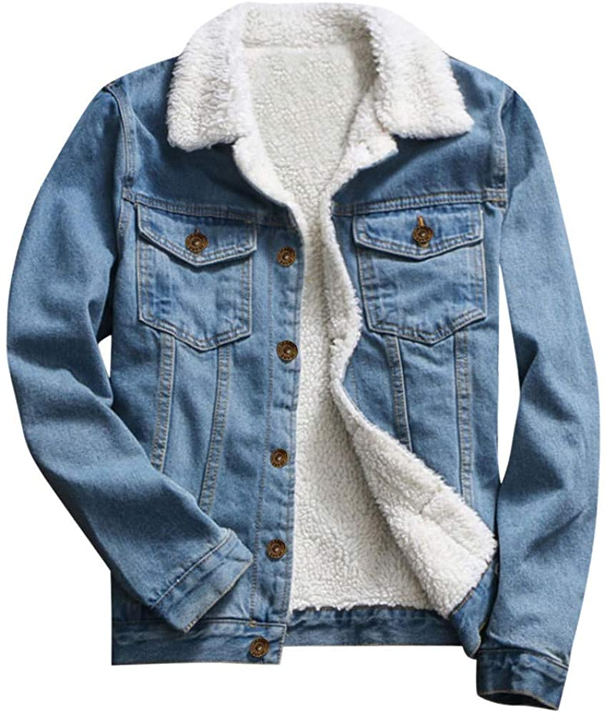 Adeliber Women Autumn Winter Denim Upset Jacket Vintage Long Sleeve Loose Jeans Coat