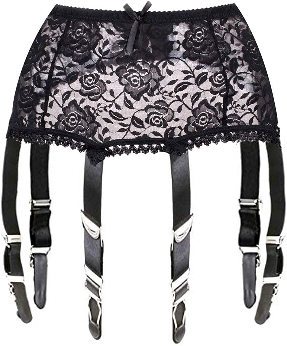 Womens Vintage Black Lace Garter Belt 6 Straps for Stockings
