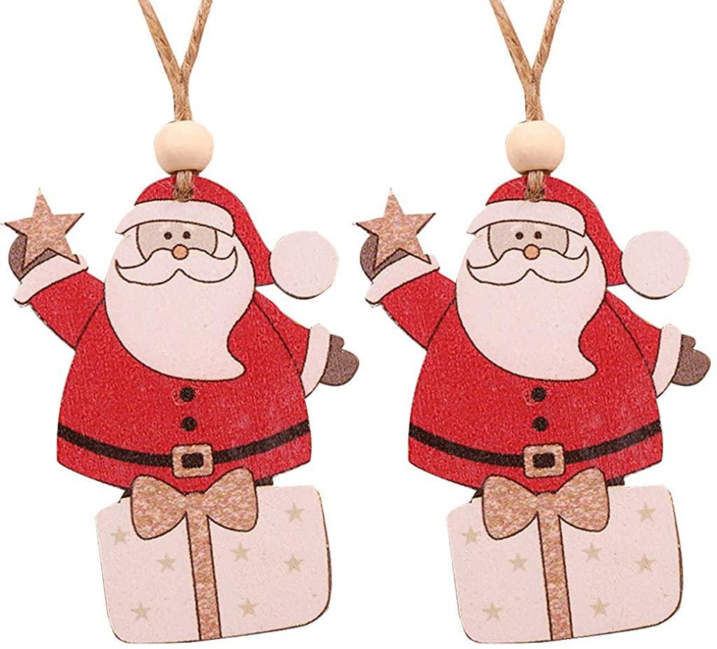 LENXH 2Pc Christmas Decoration Pendant Cute Animal Pendant Cartoon Santa Pendant Holiday Party Decoration