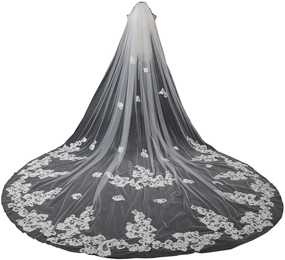 yeoyaw 1T Lace Applique Edge Wedding Bridal Veils Cathedral for Bride Free Comb