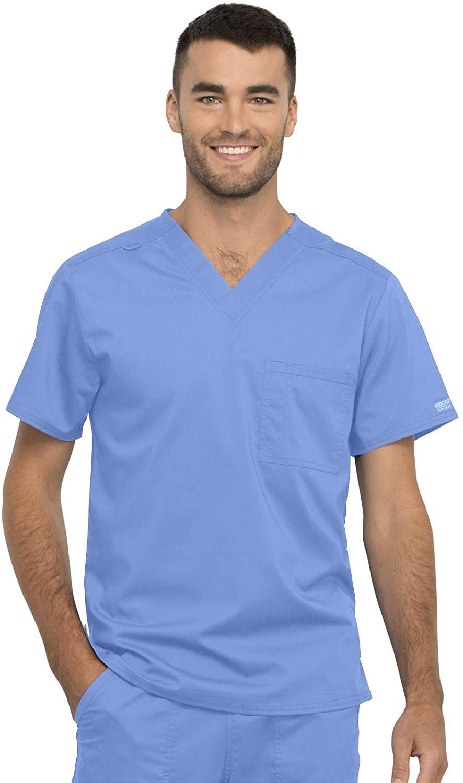 CHEROKEE Workwear WW Revolution Unisex Unisex 1 Pocket V-Neck Top, WW625, S, Ciel Blue