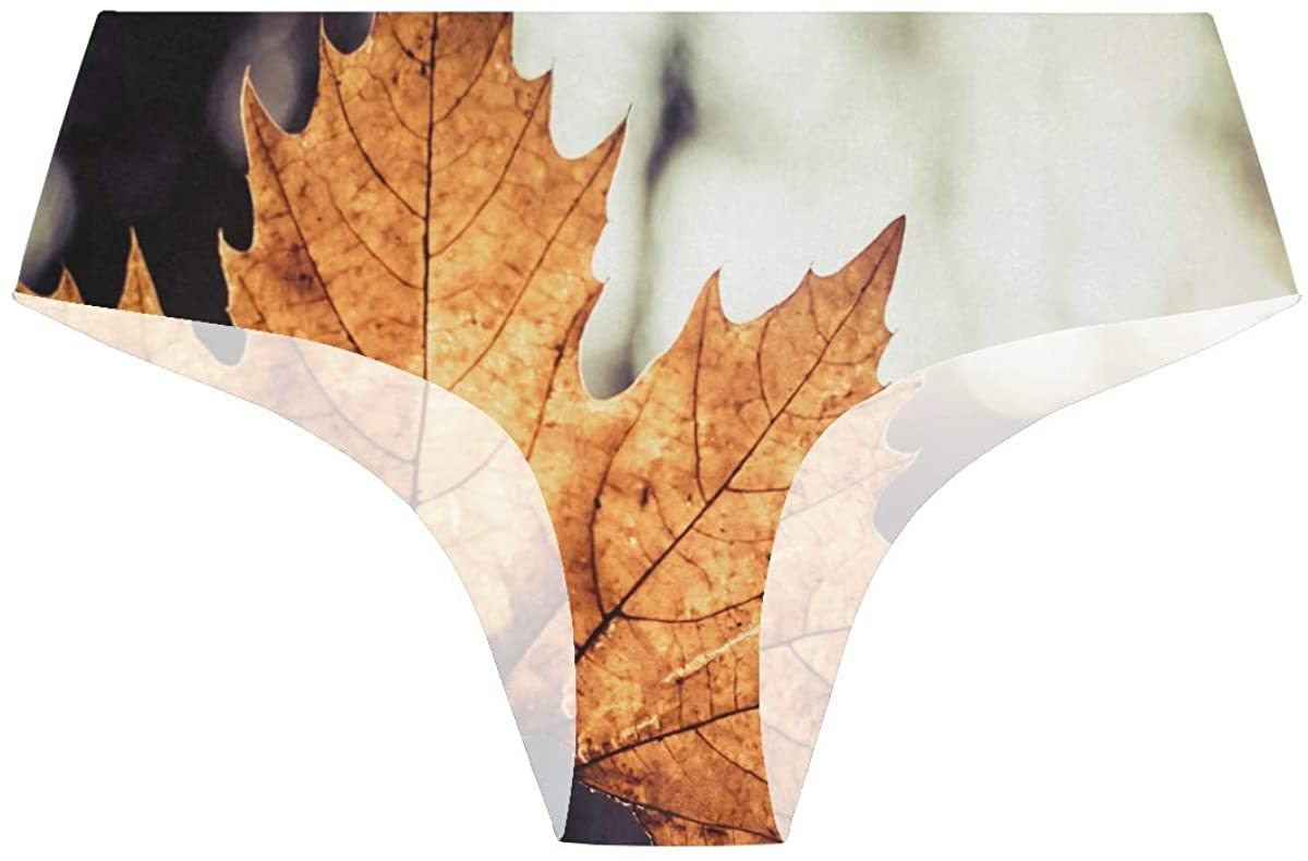 Vector Large Maple Leaf Womens Stretch Seamless Underwear Laser Cut Bikini Panties