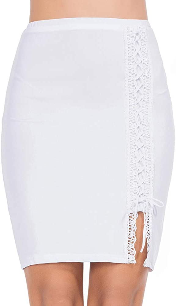 MANCYFIT Half Slips for Women Under Dresses Lace Up Bodycon Underskirt