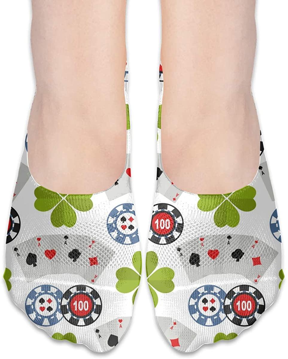 No Show Socks For Women Casino Roulette Joker Low Cut Sock Liners Invisible Socks