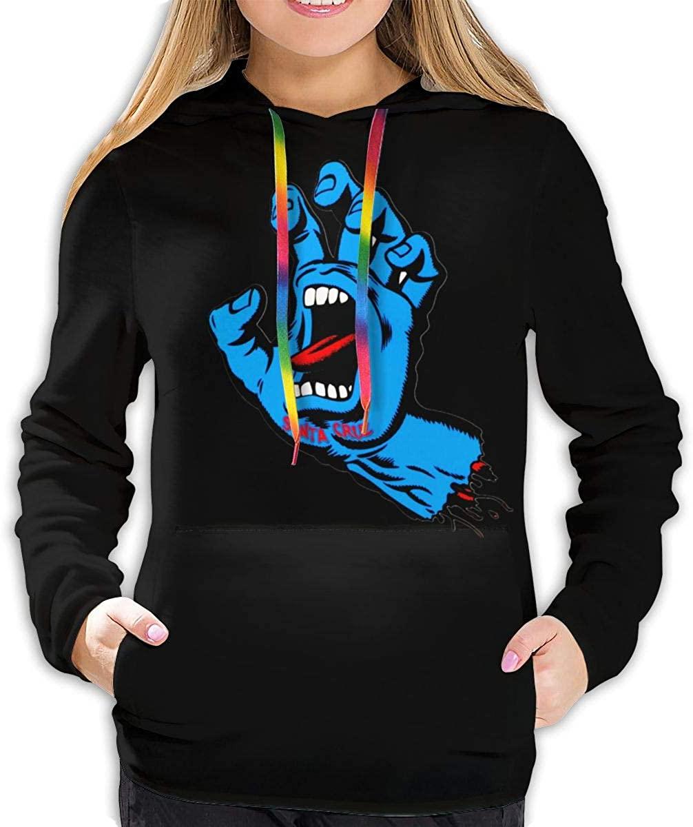 Santa Cruz Screaming Hand Hoodie Long Sleeve Shirt/Casual Graphics/Ladies Top Black