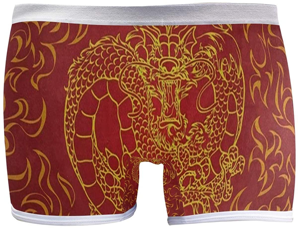 SLHFPX Asian Dragon Fire Red Boyleg Panties Womens Boyshort Underwear Soft Boxer Briefs Boy Shorts