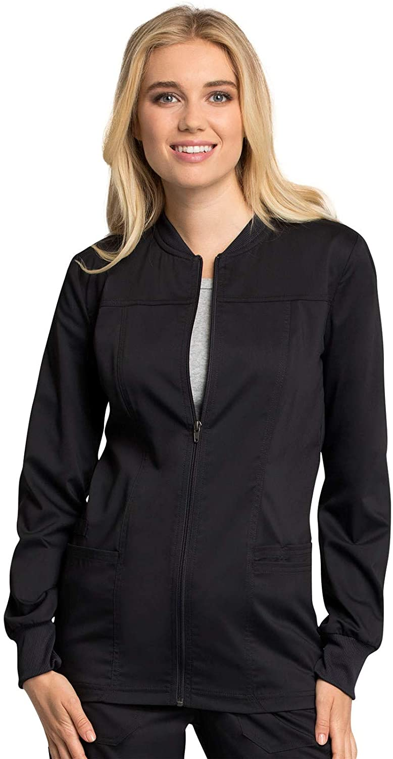 Cherokee Workwear Revolution Tech Zip Front Warm-Up Scrub Jacket, 2XL, Black