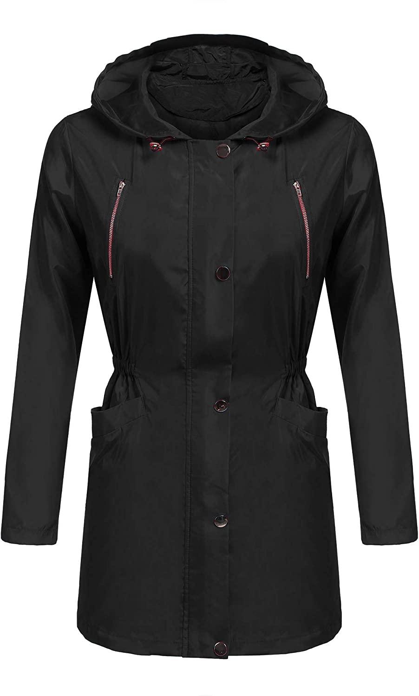 EASTHER Women's Waterproof Raincoat Lightweight Hooded Rain Jacket Windbreaker (1_Black, XL)
