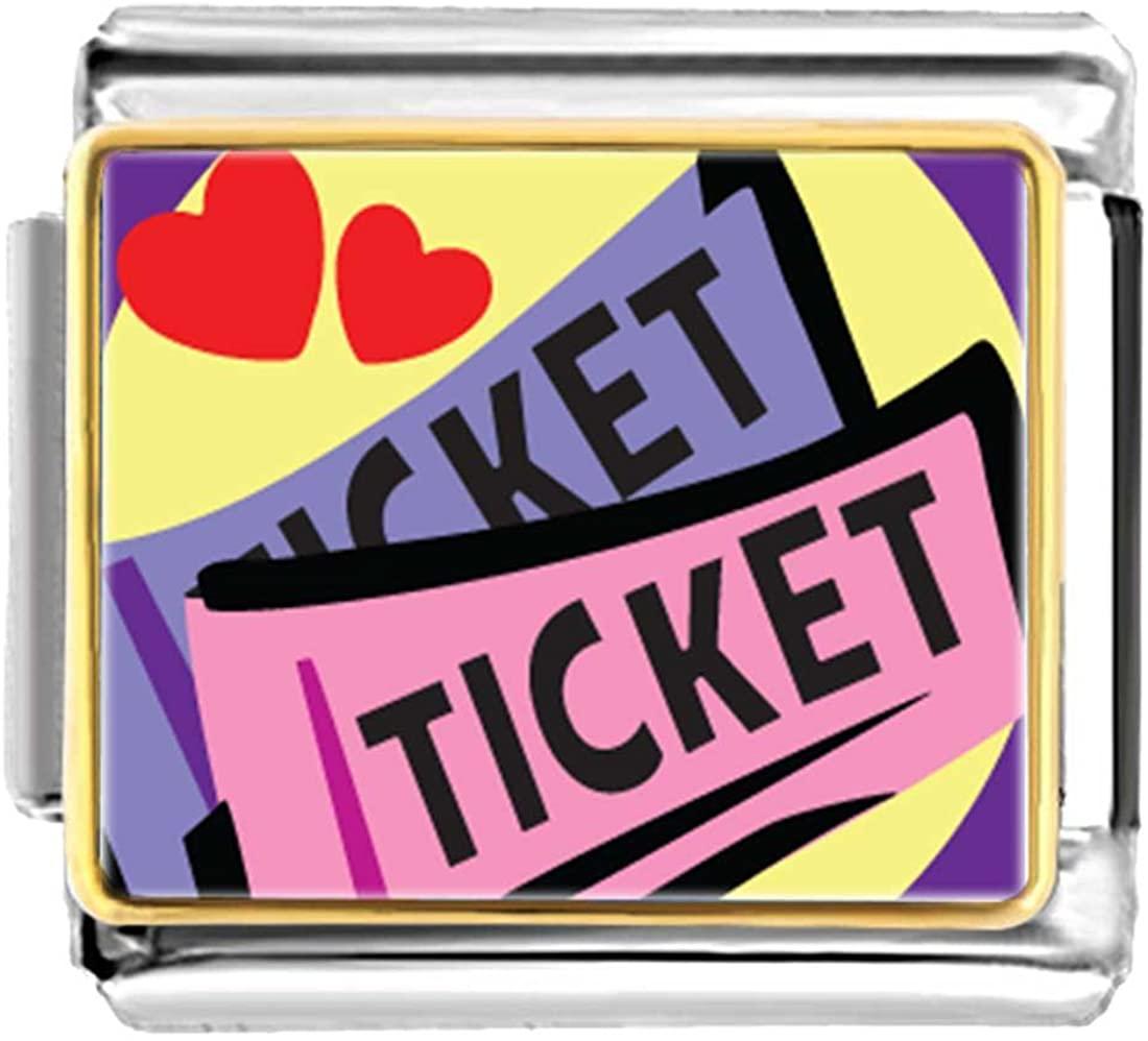 GiftJewelryShop Gold Plated Love Heart Tickets Bracelet Link Photo Italian Charm