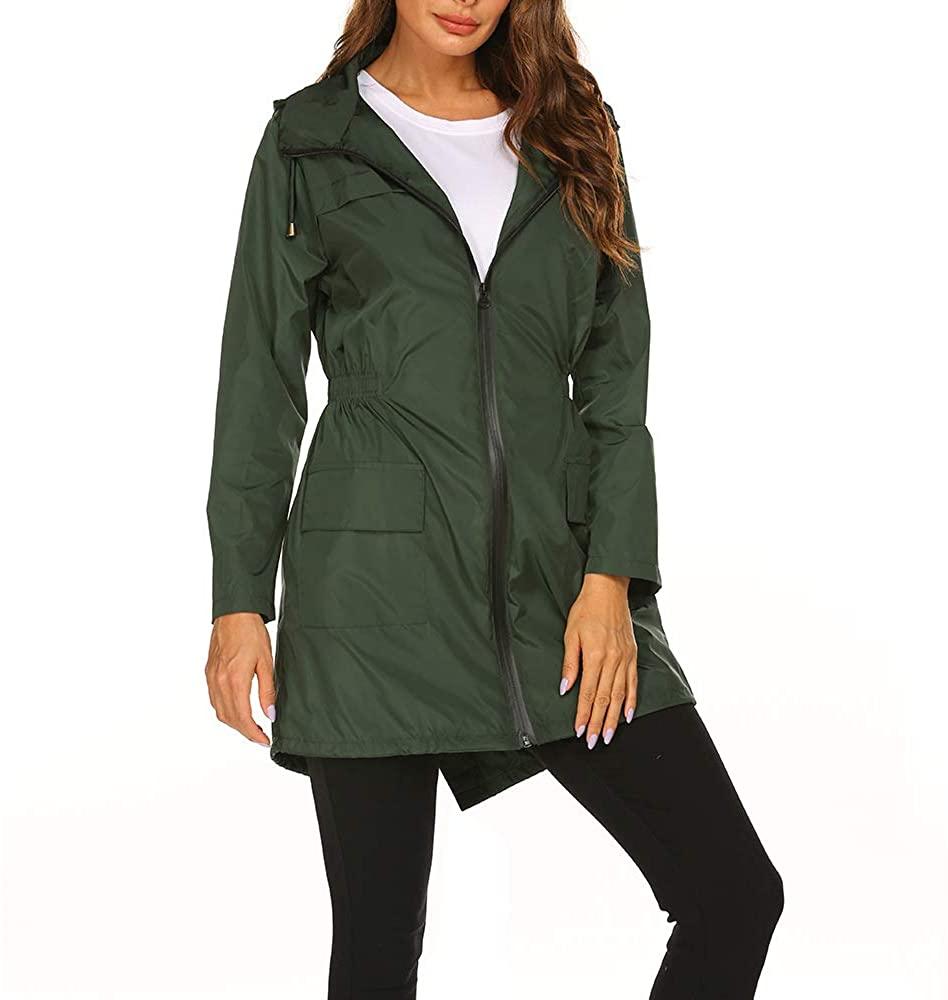 AOMEI Women's Waterproof Raincoats Lightweight Hooded Outdoor Long Jackets