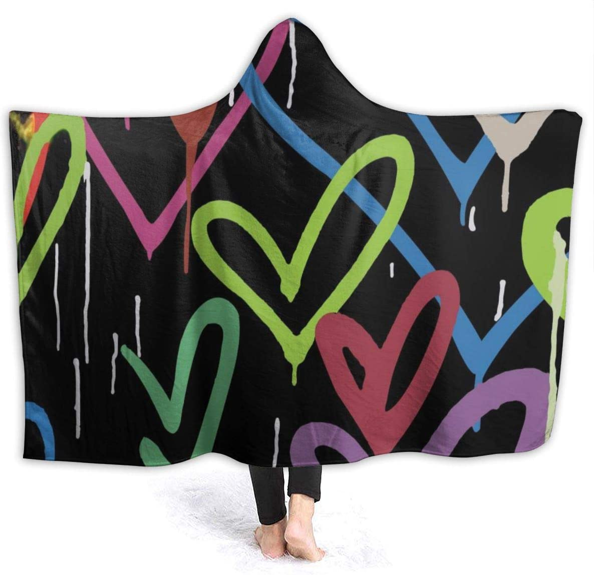 AUISS Warm Hoodie Blanket Hearts Collection Hooded Throw Wrap Cape Cloak Robe Teenager Thermal School Travel Shawl Flannel with Sleeves