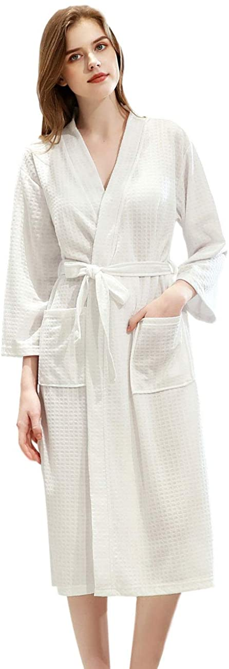 Women Spa Robe Lightweight Knee Length Belt Bathrobes Summer Quick Dry Solid Color Robes with Pocket