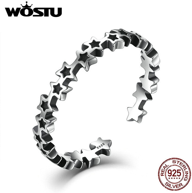 Slyq Jewelry 925 Sterling Silver Stackable Stars Open Finger Rings For Women Men Vintage Unisex Ring Gift CSR030