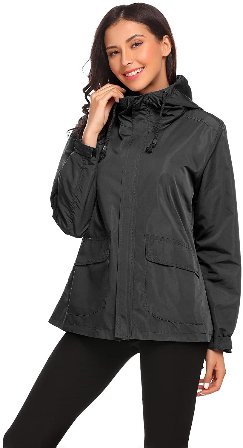 Vansop Women's Zip Up Drawstring Military Anorak Jacket with Pockets(Black L)