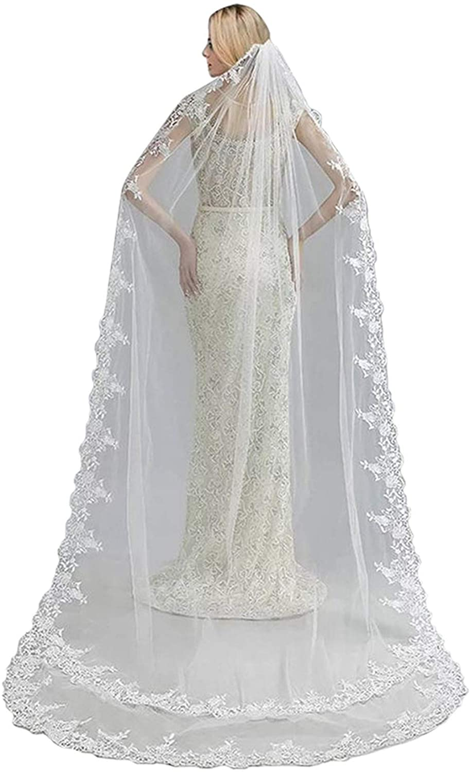 Wedding Veils 1 Tier Cathedral Ivory Elegant Floral Lace Edge Bridal Veil with Comb