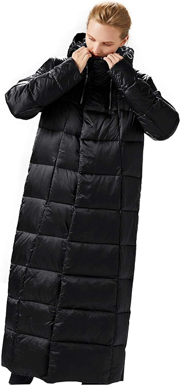Women's Down Jacket Hooded Long Stylish Winter Puff Coat Outwear Parka Jacket